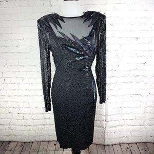 A.J. Bari Vintage Embellished Black Silk Dress